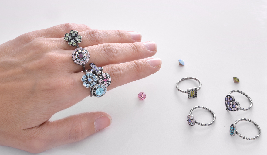 Stacking rings with sparkly Swarovski crystals