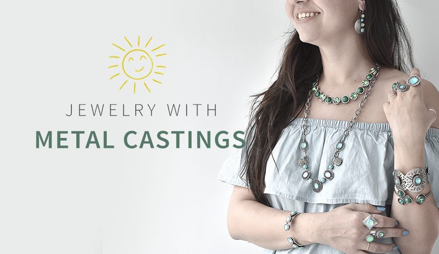 Jewelry making with metal casting & natural green stones