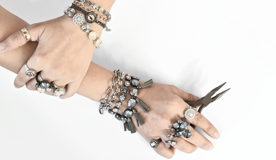 Modern romantic jewelry with the new Gray & Cream SW crystal colors