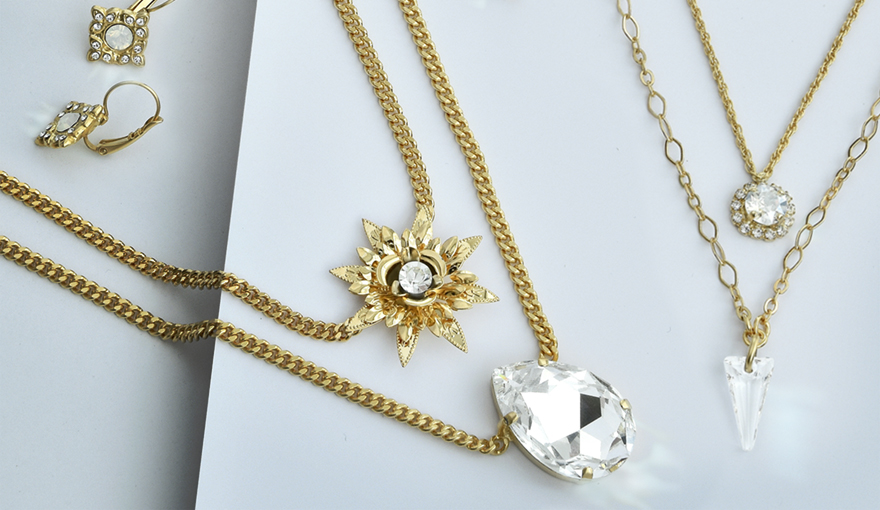 Layering crystal chain necklaces inspiration