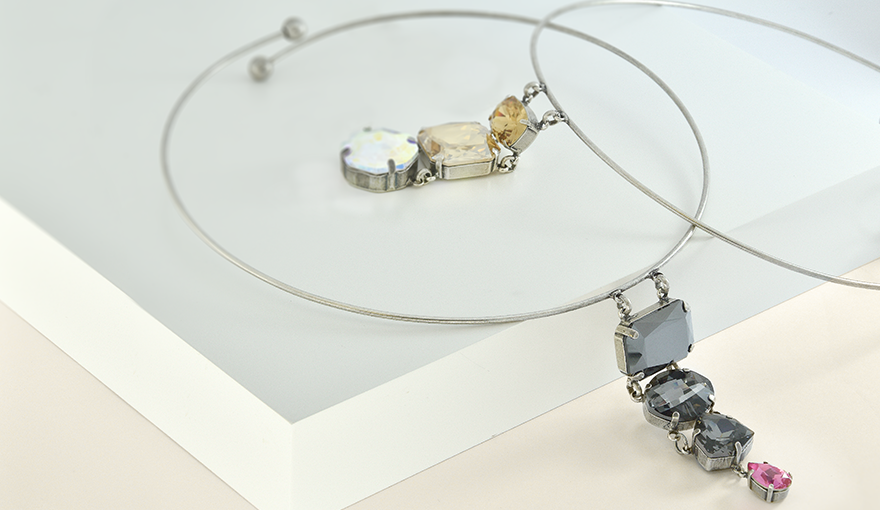 Beautiful modern choker necklaces with large SW crystals
