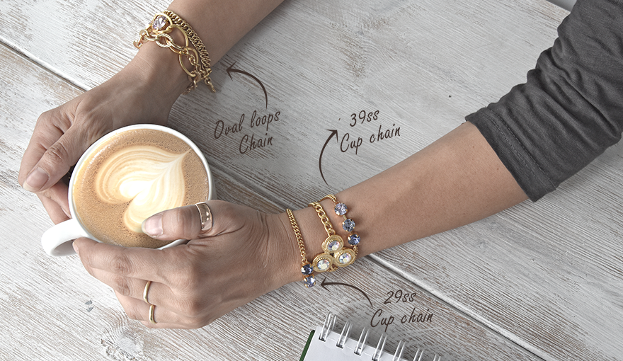 Wrap around bracelets with cup chains & chains tutorial