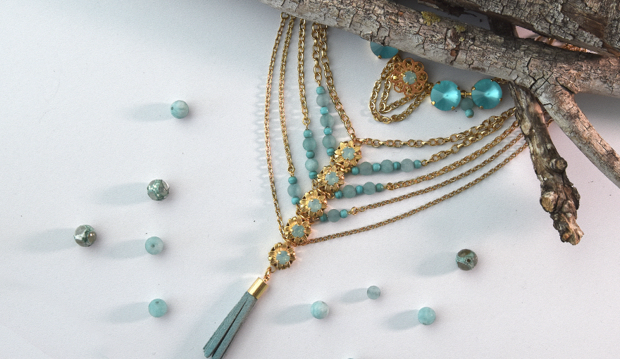 Gold & Turquoise tassel necklaces