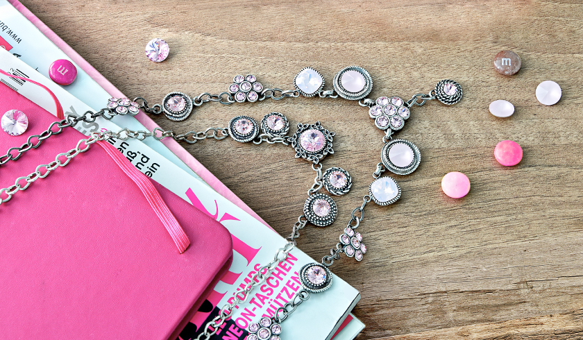 Pink necklace with SW flower settings
